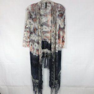 XCVI | Tie-Dye Knit Crochet Open Front Cardigan